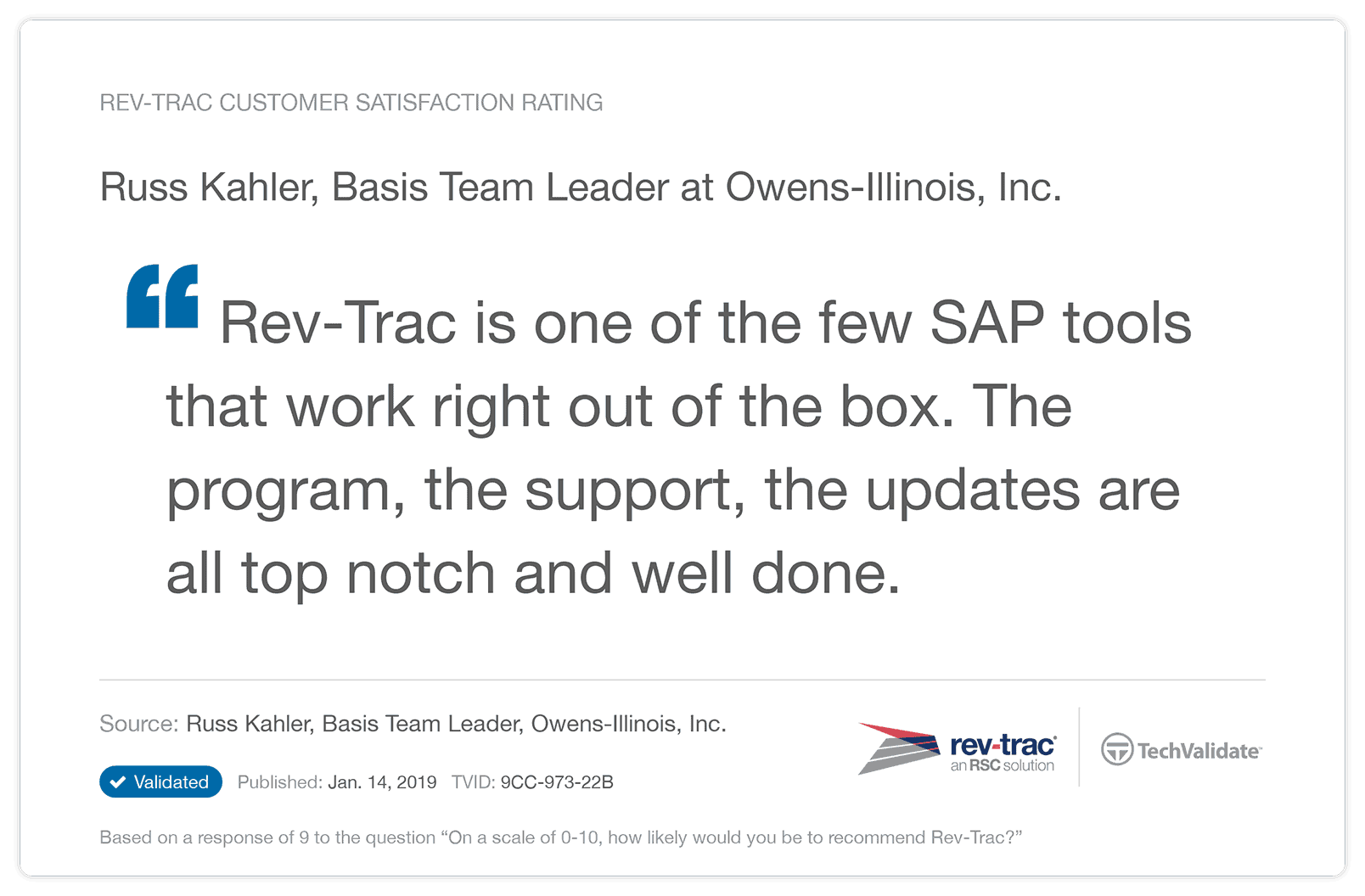 Rev-Trac is one of the few SAP tools that work right out of the box.